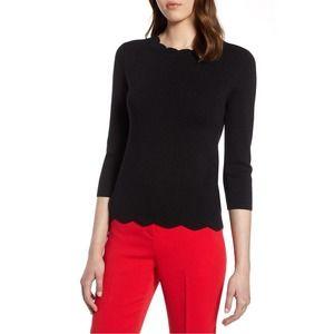 Halogen scalloped edge black sweater classy chic
